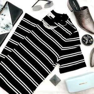 Black & White Striped Fitted Tee Dress
